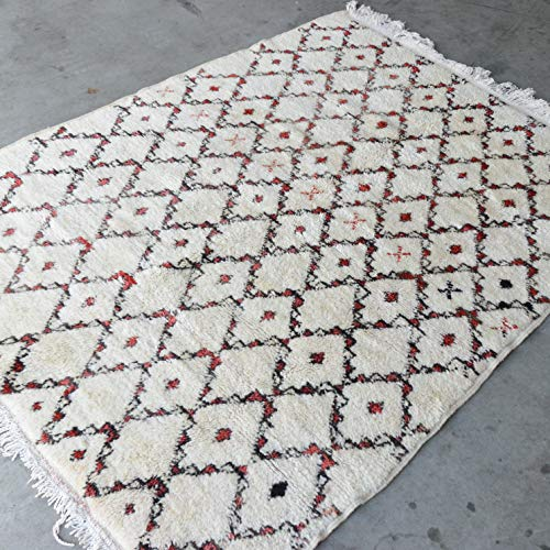 Beni Ouarain Marokkaanse Azilal Berber tapijt Orient - 100% handgeweven natuurlijk tribal wol tapijt - diamant vormen - 200 x 145