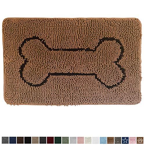 Gorilla Grip Original Indoor Durable Chenille Doormat, 24x17, Absorbent, Machine Washable Inside Mats, Low-Profile Rug Doormats for Entry, Mud Room, Back Door, High Traffic Areas, Bone Camel