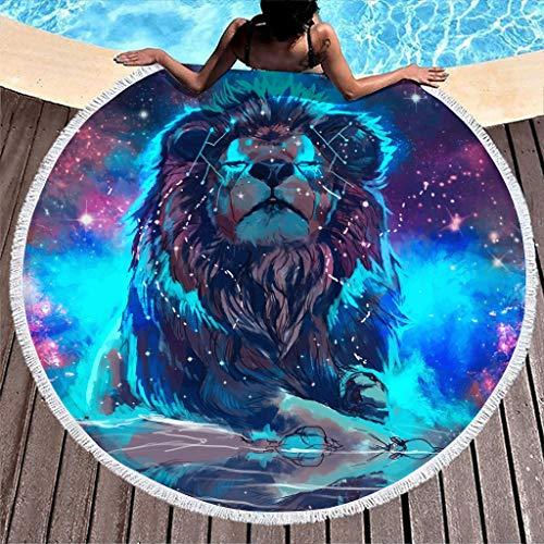 VEED Tiger Lion Animal Colorful Beach Roundie Circle Esterilla de Yoga con Borla para Hombres y Mujeres Talla única Blanca