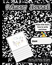 Primary Journal: Modern Black Marble,Composition Book, draw and write journal, Unruled Top, .5 Inch Ruled Bottom Half, 100 Sheets, 7.5 in x 9.25 in, 19.05 x 23.495 cm,Soft Durable Cover