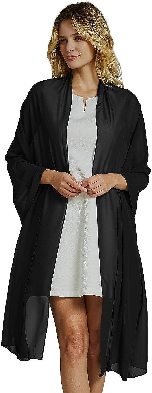 Women's Chiffon Shawls Wrap For Bridesmaid Dress Fashion Long Scarf Black Peach Wind Colors Available