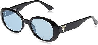 GUESS Women's Sunglasses GU759001X54 - Shiny Black/Blue Mirror - Injected