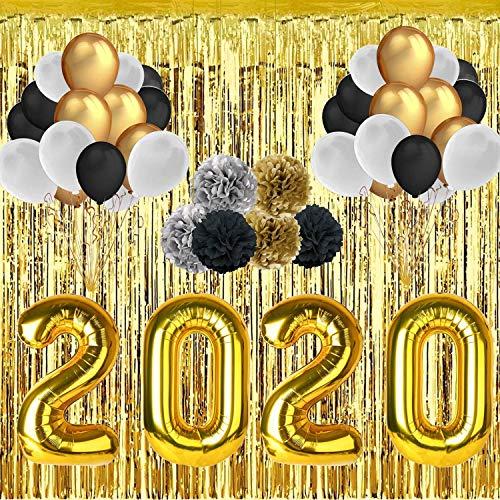 Decoración de Año Fiestas - 40'' 2019 Globos de Papel de Aluminio - 30 Piezas 12'' Látex Globos - 118'' Foil Fringe Curtain - 6 Piezas 10'' Bola de Flores de Papel Año Decoraciones Fiestas