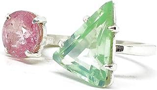 Magnifico anello aperto con bellissime tormaline rosa e verdi. Anello con Tormaline naturali CERTIFICATE (vedi foto) reali...
