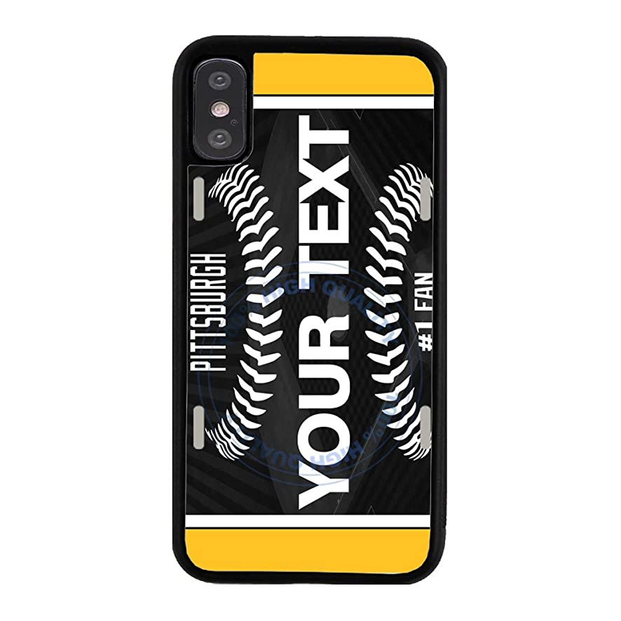 BleuReign(TM) Personalized Custom Name Baseball Pittsburgh License Plate TPU Rubber Silicone Phone Case Back Cover for Apple iPhone X Ten