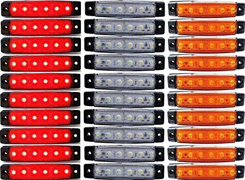 30 x LED côté arrière tracé 12 V Rouge/Blanc/Ambre Marqueur LED pour camion remorque Caravane