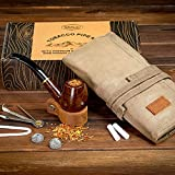 Best Tobacco Pipes - Tobacco Pipe with Waxed Canvas Pipe Roll, Handmade Review