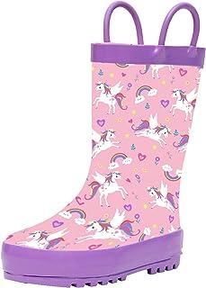 حذاء المطر للأطفال والأطفال الصغار مع مقابض سهلة الارتداء، حذاء مطر مطاطي مطبوع مقاوم للماء للأولاد والبنات