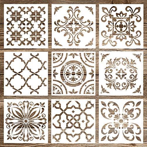 Whaline 9 Stück Mandala Schablonen Set Schablonen Werkzeug Mandala Dotting Tools für Malerei, Holz, Wand, Möbel, Bodenfliesen, Stein Felsmalerei Template ( 9 Stile )