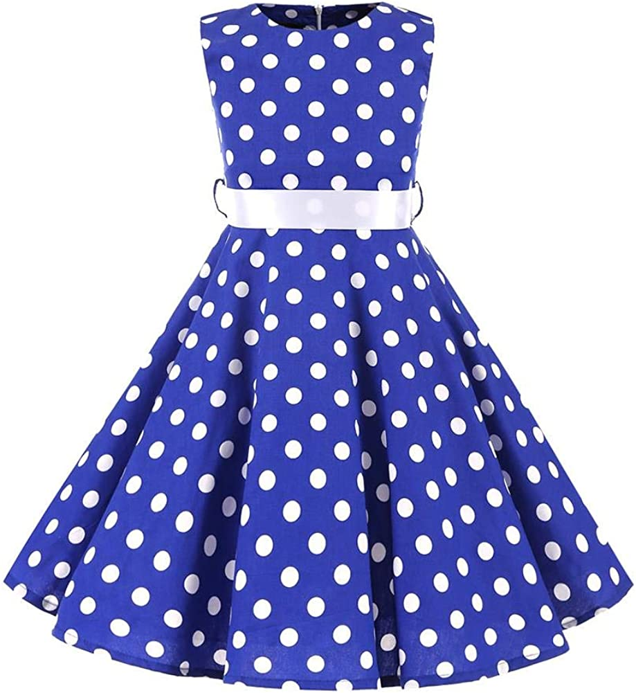 Kids Girls 50s Vintage Polka Dot Dress Retro Rockabilly Princess Casual Wedding Birthday Sleeveless Party Swing Dresses