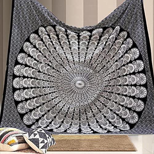 Tapiz impresión 3D Indio Hippie bohemio psicodélico pavo Real Mandala colgante de pared ropa de cama tapiz hogar Yoga Mat decoración del hogar Regalo