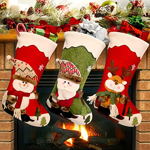 """POPUTOY Christmas Stockings, 3 Pack 18"""" Personalized Large Christmas Stockings Santa, Snowman, Reindeer, Xmas Character 3D Plush with Faux Fur Cuff Party and Christmas Decorations"""