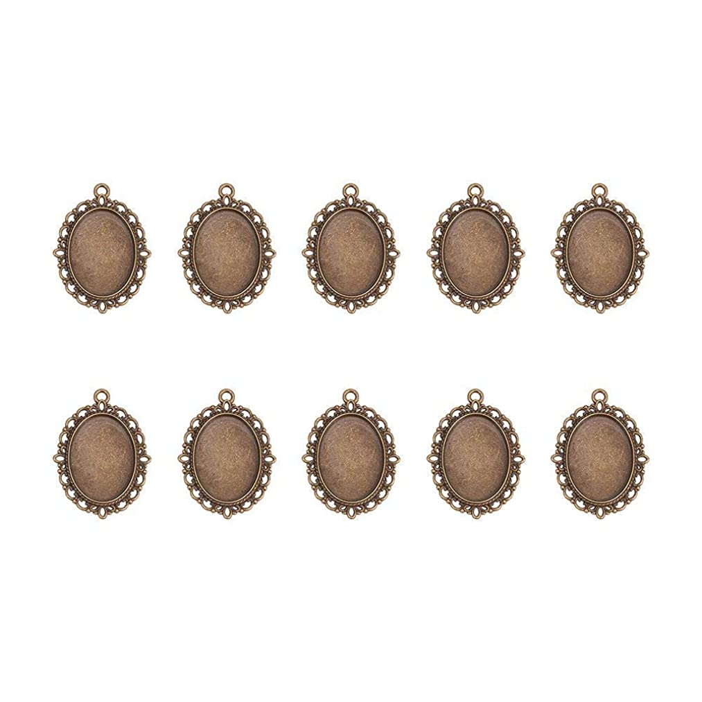 Pandahall 10pcs Antique Bronze Oval Zinc Alloy Pendant Settings for Cabochon & Rhinestone DIY Findings for Jewelry Making