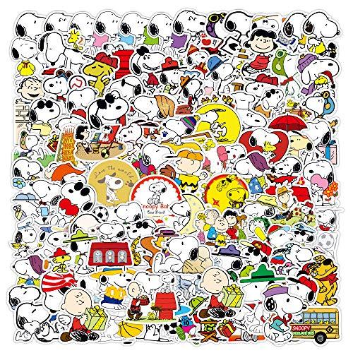 WYDML Snoopy Pegatina Maleta Maleta Dibujos Animados Lindo Coche Amor teléfono Caso Impermeable Paquete Correo 100 Uds