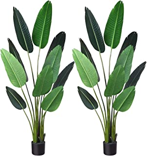 Fopamtri Artificial Bird of Paradise Plant Fake Tropical Palm Tree for Indoor Outdoor, Perfect Faux Plants for Home Garden Office Store Decoration, 5 Feet-2 Pack