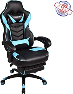 ELECWISH Racing Video Gaming Chair High Back Large Size Ergonomic Adjustable Swivel Reclining Executive Computer Chair with Headrest and Lumbar Support PU Leather Executive Office Chair Sky Blue