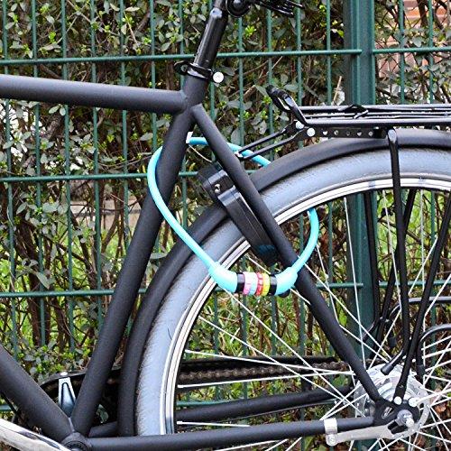 nean Fahrradschloss für Kinder, Zahlen-Code-Kombination-Kabel-Schloss, bunt, 10 x 650 mm (Blau) - 6