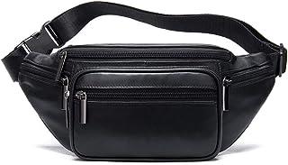 Fanny Pack for Men & Women Black Genuine Leather Unisex Waist Pack Crossbody Bag with 5 Zipper Pockets Adjustable Strap fo...