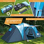 Skandika Hammerfest Family Dome Tent with 2 Sleeping Cabins, 200 cm Peak Height, Blue, 4-Person 5