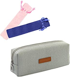Huture Nature Environment Cute Canvas Pencil Case Box Pouch Houlder Girl Stationery Storage Bag Makeup Brush School Gift Pockets Decor for Women Ladies Teen Girls Students Officer, Grey