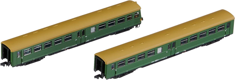 """Arnold HN4247 2teilig Set Reisezugwagen """"Lowa E5"""" Modellbahn, green Mit brownem Dach"""