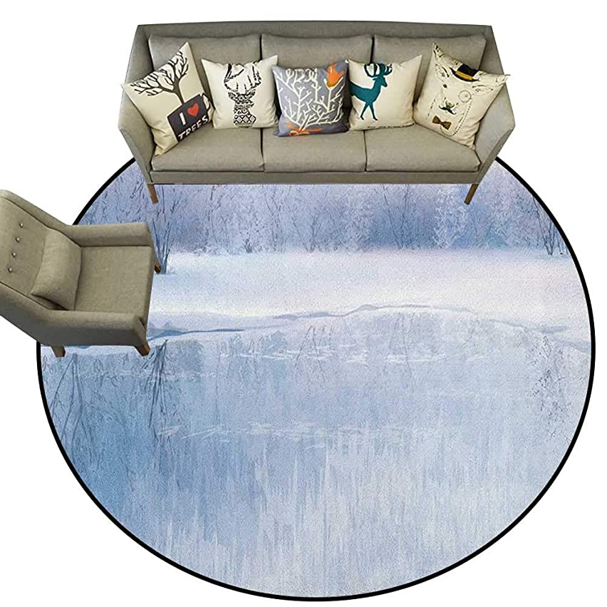 Winter,Living Room Round Rugs ICY River Barren Snowy Forest Digital Artwork Frost Cold Weather Winter Season D36 Home Decor Carpets Kids Play Rug