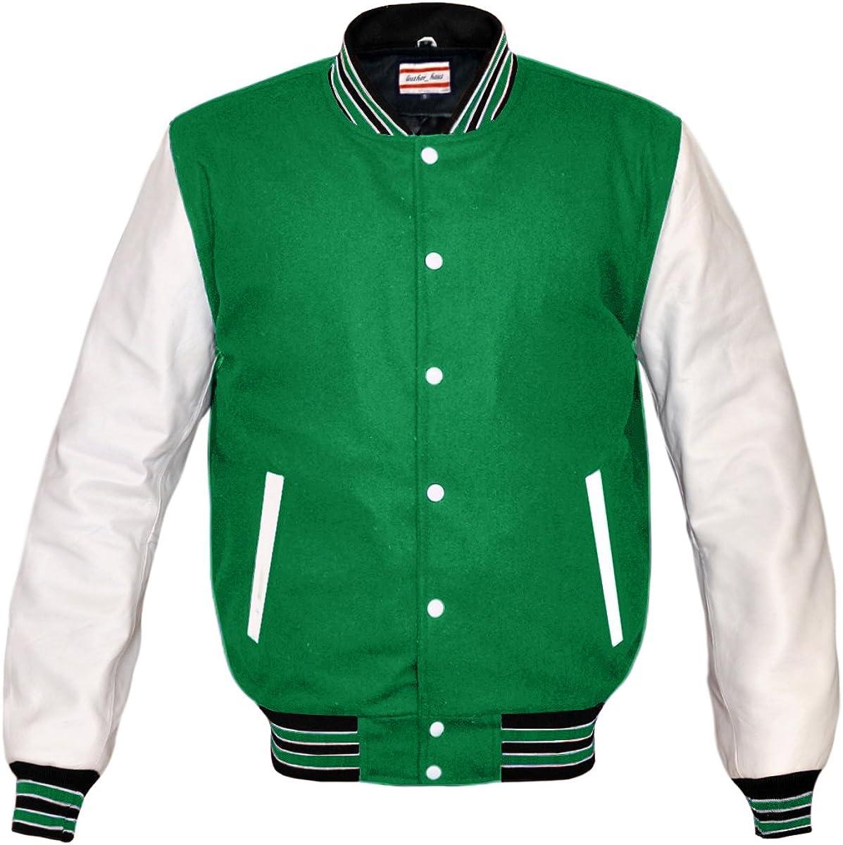 Original American Varsity Letterman College Baseball Bomber Genuine White Leather Wool Jackets