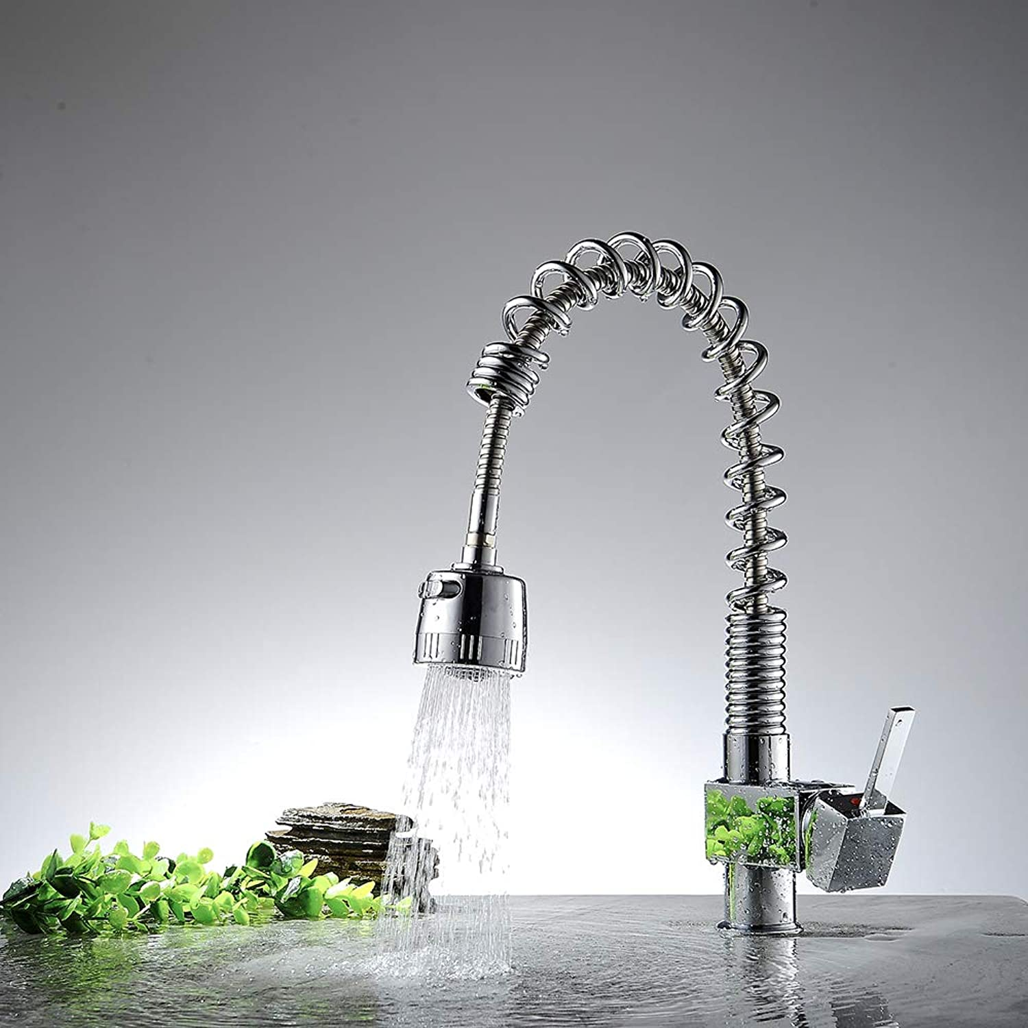 Faucet, Kitchen Faucet Faucet Chrome Sink, Spring Pull Faucet Basin Faucet Hot And Cold Water Faucet