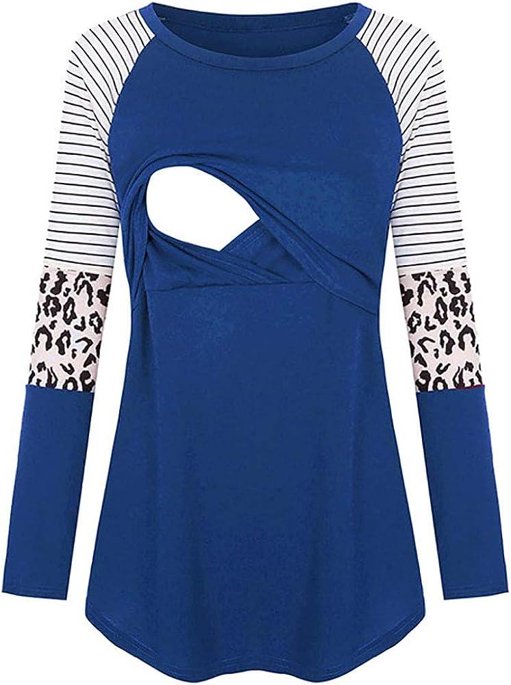 Nursing Top PullIover Women Breastfeeding T Shirt Long Sleeve Blouse Leopard Hoodie