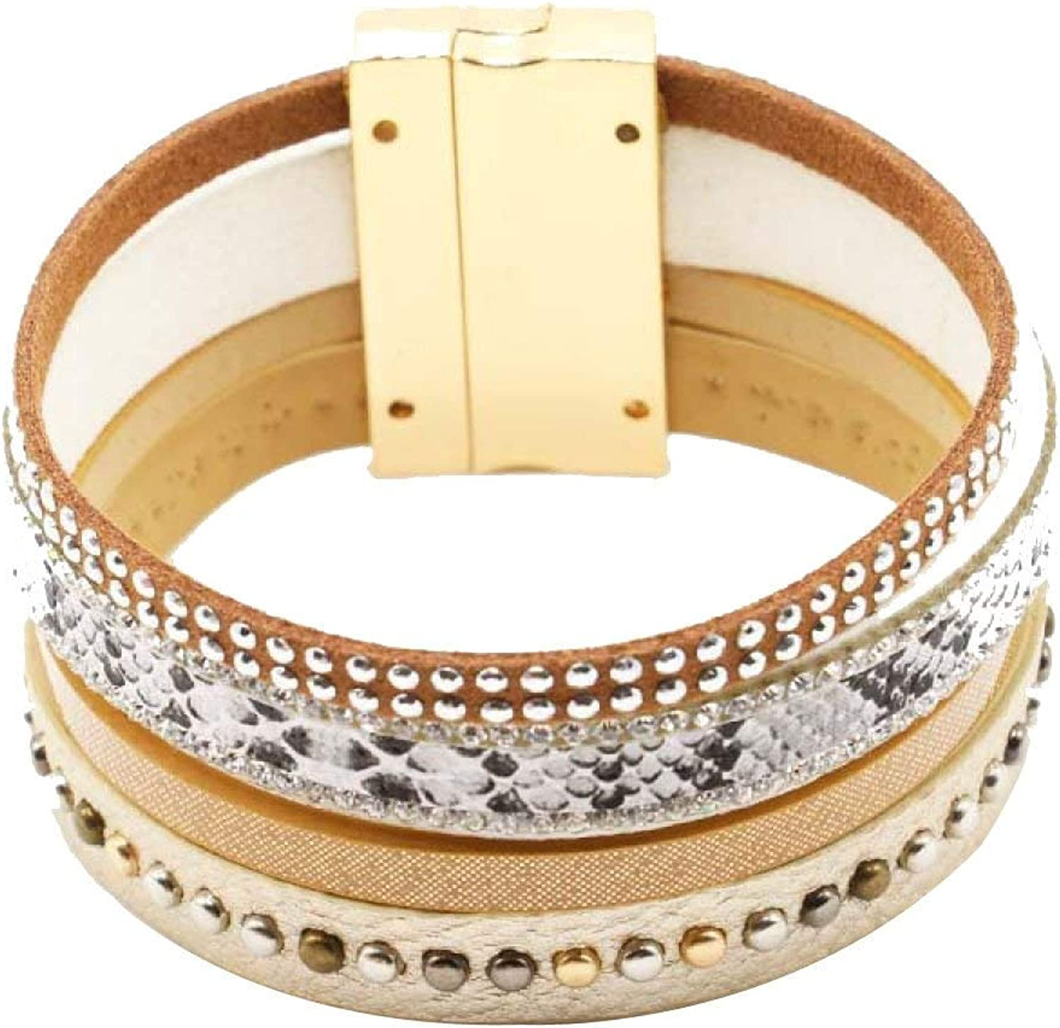 Zicue Stylish Charming Bracelet Exquisite Ornaments Popular Multilayer Personality Wide Side Magnetic Buckle Bracelet Leather Diamond Bohemian Leopard Brazil Bracelet Fashion