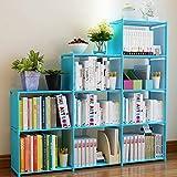 Hosmat 9-Cube DIY Children's Bookcase 30 inch Adjustable Bookshelf Organizer Shelves Unit, Folding Storage Shelves Unit (Blue_9 Cubes)