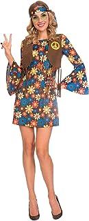 Damen buntes Vintage-Blumen-Hippie-Hippie-Kostüm, 60er-/70e