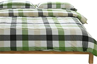 OTOB Colorful Green White Checkered Plaid Bedding Set for Adults 3 Piece Lightweight Grid Gingham Washed Cotton Duvet Cover Sets with Pillow Shams, Reversible(Twin, Green)