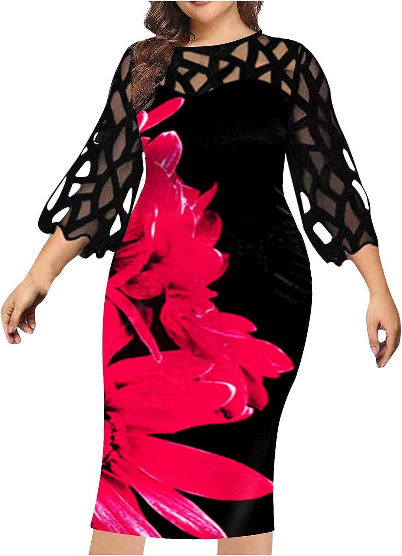 Summer Dresses Fashion Women Plus Size Printed Lace Patchwork O-Neck Long Sleeve Long Dressbeach Sundress