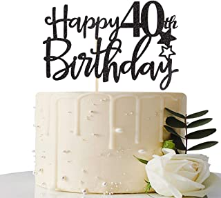 Black Happy 40th Birthday Cake Topper,Hello 40, Cheers to 40 Years,40 & Fabulous Party Decoration