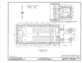 Historic Pictoric Blueprint Diagram HABS VA,64-TUN.V,4- (Sheet 1 of 9) - St. Peter's Church, State Route 642, Tunstall, New Kent County, VA 44in x 32in