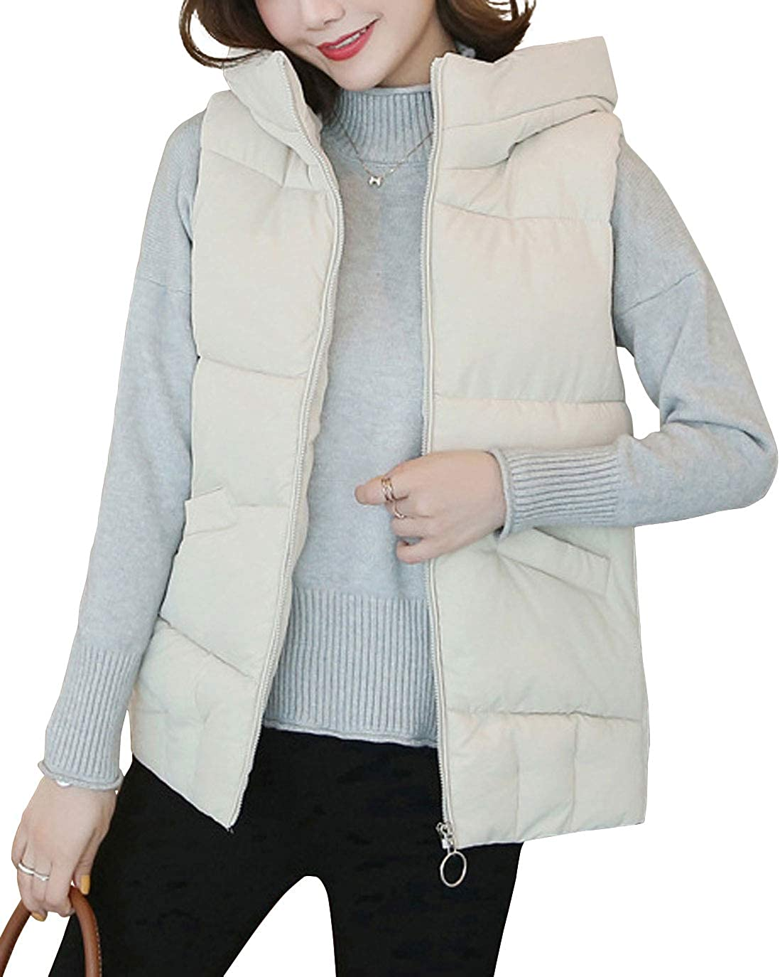 ebossy Women's Hooded Full Zip Quilted Padded Down Alternative Puffer Vest Jacket
