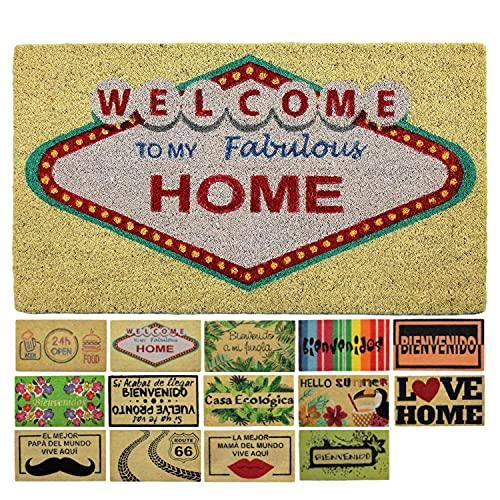LucaHome - Felpudo Coco Natural 40x70 Antideslizante, Felpudo de Coco Welcome Vegas, Felpudo Absorbente Entrada casa, Ideal para Exterior o Interior