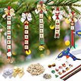 Christmas Ornaments Tree Decorations Personalized Crafts for Kids Adults Kit DIY Hot Glue Gun Ribbon Letter Tiles Jingle Bells Rustic Xmas Decor for Gifts Stockings Tags Present Toppers