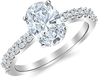 1.71 Carat 14K White Gold Classic Side Stone Prong Set Oval Cut Diamond Engagement Ring (1.21 Ct J Color SI1 Clarity Center Stone)