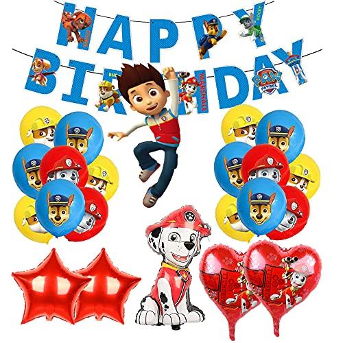 Cumpleaños Paw Dog Patrol Decoracion Globos Paw Dog Patrol Globos de Aluminio Pancarta de Feliz Cumpleaños de Patrulla Canina