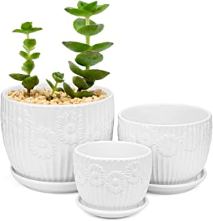 Yesland Set of 3 Ceramic Plant Pot with Saucer, Small to Medium Sized Round Modern Garden Flower Pots with White Daisy Pat...