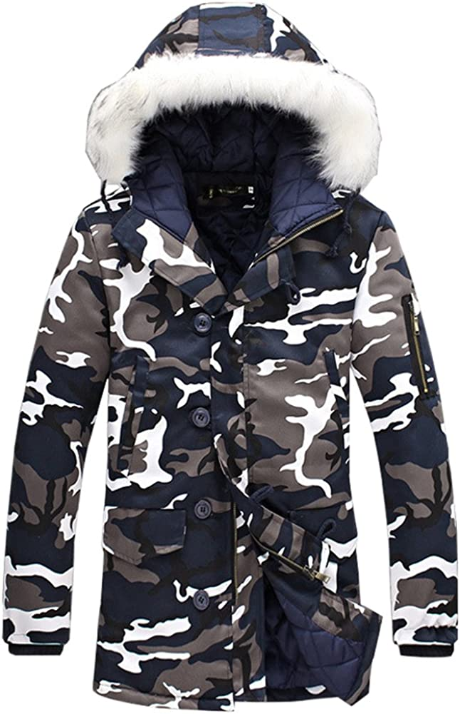 DSDZ Mens Winter Thick Warm Camouflage Parka Long Thermal Jackets and Coats with Fur Hood