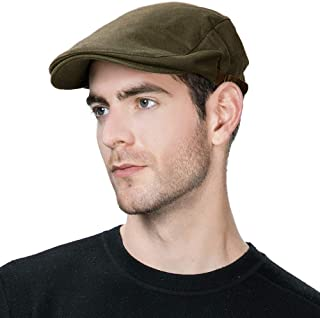 Jeff & Aimy Men's Flat Cap Ivy Gatsby Newsboy Driving Hunting Hat Cotton/Wool Herringbone/Plaid Tweed