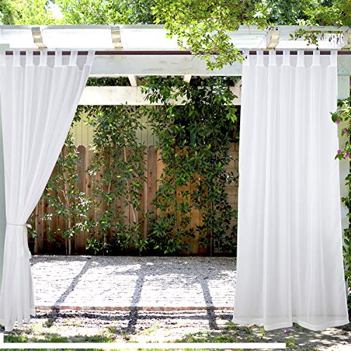 """LIFONDER Outdoor Curtains Patio Drapes - Set of 2 Waterproof Sheer Drapes Tab Top White Sheer Curtains for Pergola Gazebo Shades for Patio Decor with 2 Tiebacks, 54"""" W X 96"""" L, White"""