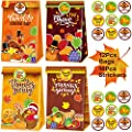 Thanksgiving Gift-Bag Fall-Leaves Party-Favors — 12Pieces Medium Autumn Boxes Good Kraft Paper Treat Bags for Wrapping Presents with Sealing Stickers for Decor Ornaments Themed Supplies for Kid xinhuachen