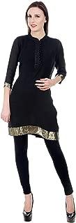 Devaleena Creations Black Pure Linen Golder border Kurta