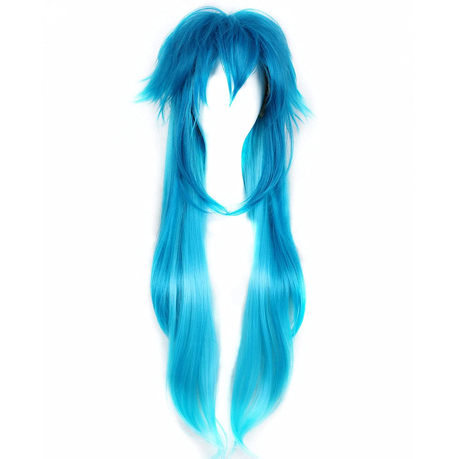 Fwhwj Year-end gift Men's Cosplay Wig 31'' Long Popular standard Mixed Straight Blue Ha Costume