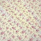 Stoff Baumwolle Rosen rosa ecru Cretonne Nessel creme Mille