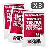 Lote de 3bolsas de tinte textil, color rojo amaranto, tinte universal para ropa y tejidos naturales